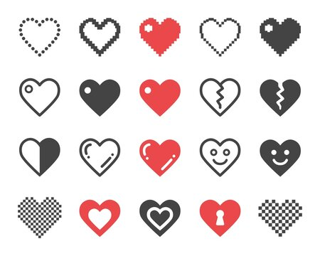 heart icon set,vector and illustration