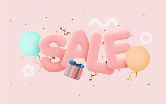 Great discount sale banner or poster design on bright pink background. Sale word composition with gift box, balloons, confetti.