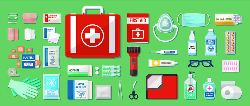 Complete First Aid Kit Set Box vector illustration.