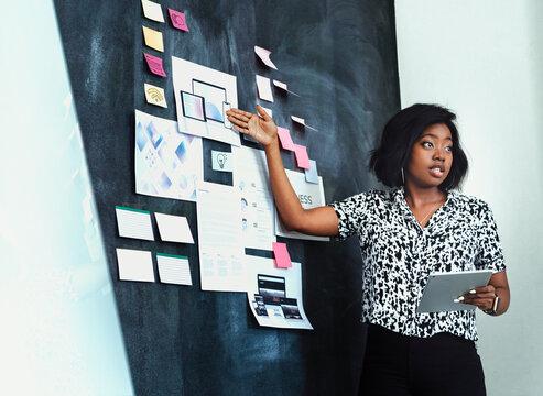 Businesswoman brainstorming using a blackboard