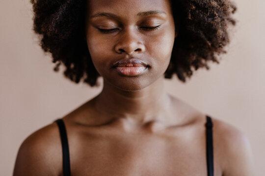 Black woman in zen mode