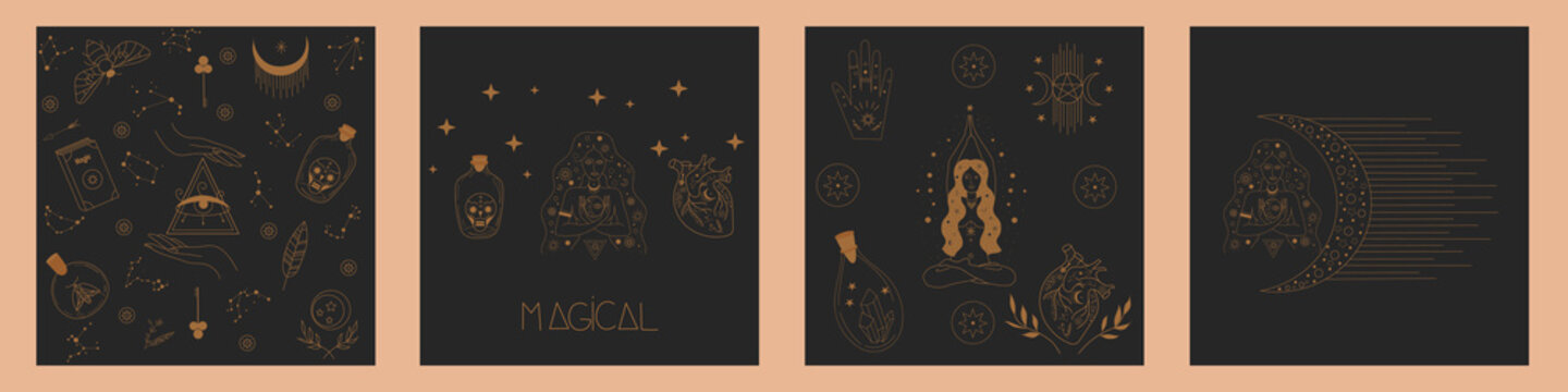 Collection of Mystical and Mysterious objects for featuring Scared Witch, Crystal, Glass, Heart, Lady Hands Symbols, evil eyes, magic woman. Flat Vector Illustration