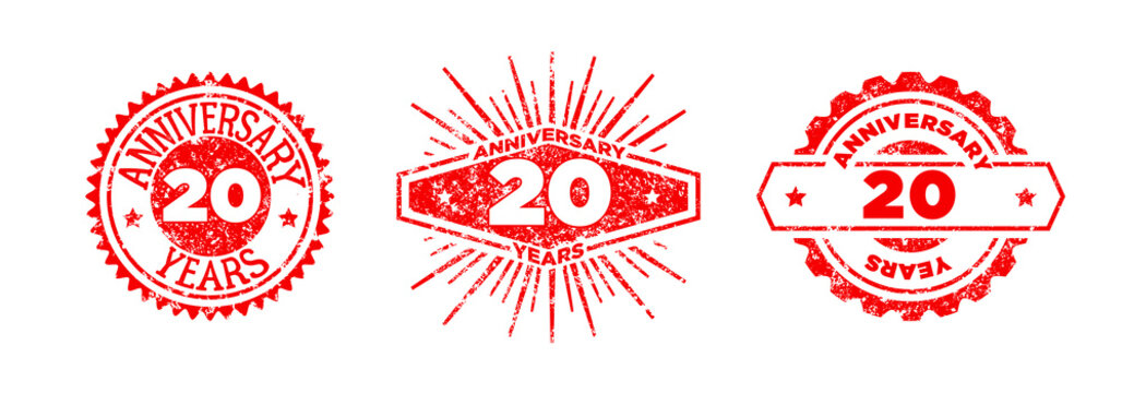A group of 20 years anniversary logos drawn in the form of stamps, red frames for celebration. Grunge rubber stamp texture. Distressed texture stamp. Collection of postage stamps. Vector round stamps
