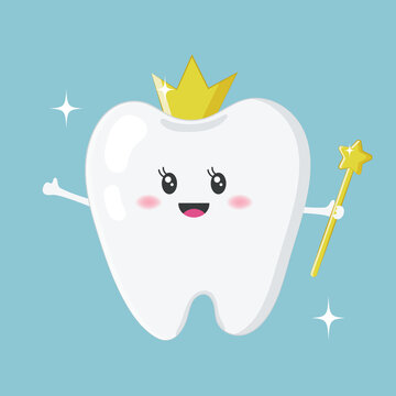 Cute tooth, tooth fairy with a gold crown, and magic wand isolated on blue background. Vector illustration for Tooth Fairy Day on February 28th