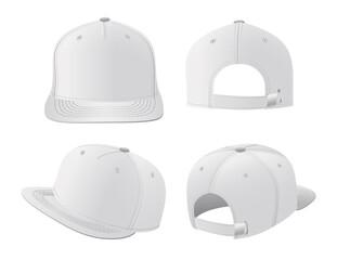 Obraz Sport caps mockup set, realistic design vector illustration - fototapety do salonu