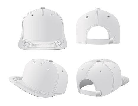 Sport caps mockup set, realistic design vector illustration