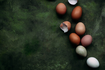 Brown and white chicken eggs on olive background