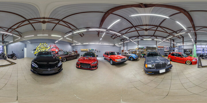 GRODNO, BELARUS -MARCH, 2019: full seamless spherical hdri panorama 360 degrees angle view of interior modern car center of repair polishing and accident recovery in equirectangular projection. vr