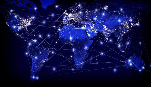 Global networking and international communication. Planet Earth and World map as a symbol of the global network. Interplanetary communication. Elements of this image furnished by NASA.