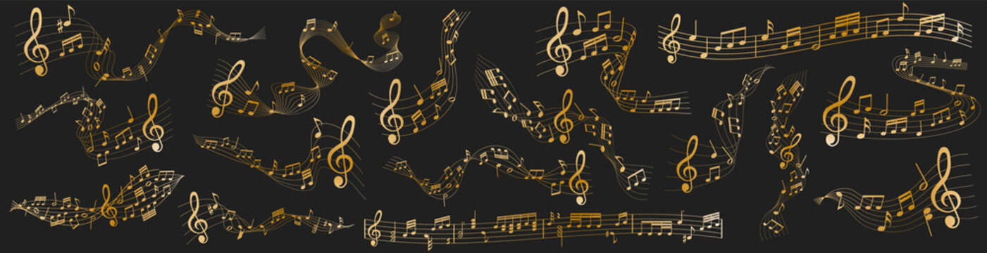 vector sheet music - gold musical notes melody on dark background
