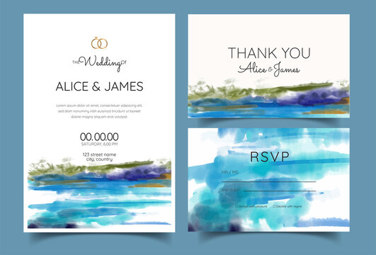 wedding invitation cards with pine forest landscape watercolor