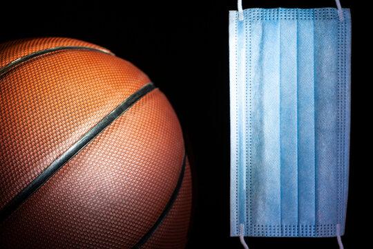 image of basketball mask dark background