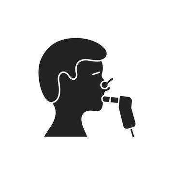 Functional pulmonary test black glyph icon. Medical and scientific concept. Laboratory diagnostics. Pictogram for web, mobile app, promo.