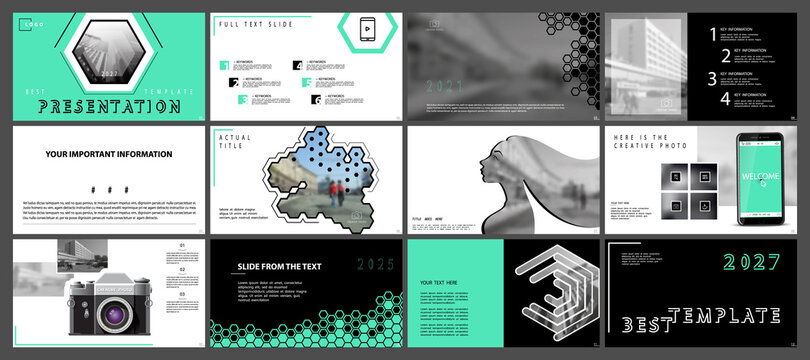 Business presentation template, infographic elements on white background. Vector slide, presentation of business projects and marketing.Hexagon turquoise design walking people in the city.Phone camera