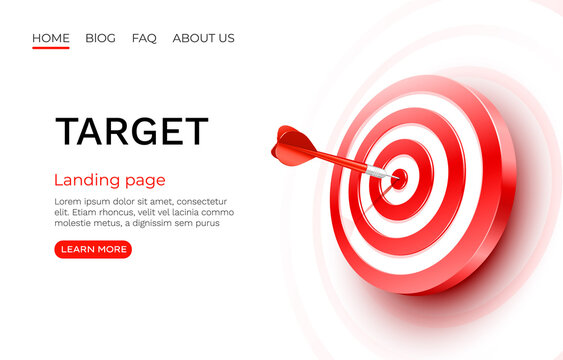 Target landing page, banner business 3d icon. Vector