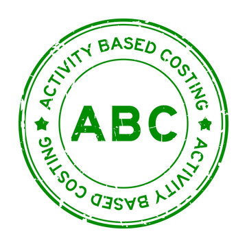 Grunge green ABC (abbreviation of activity based costing) word round rubber seal stamp on white background