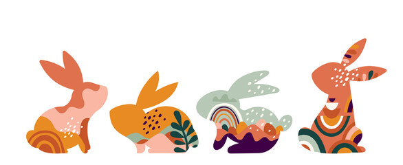 Fototapeta Boho Easter concept design, bunnies, eggs, flowers and rainbows in pastel and terracotta colors, flat vector illustrations