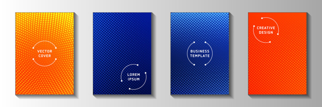 Creative dot screen tone gradation title page templates vector series. Corporate journal faded