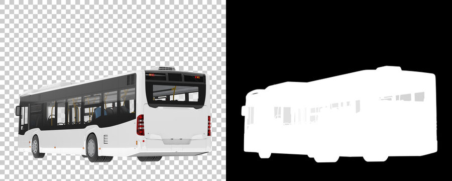 City bus isolated on background with mask. 3d rendering - illustration