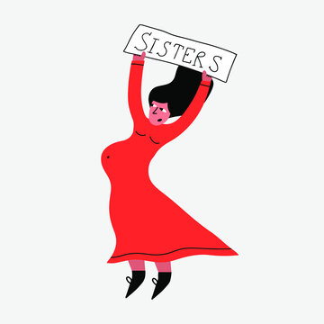vector isolated sticker-pregnant woman at a protest for women's rights.Feminist is a single mother.Other family. Surrogacy. Women's equality and support and sisterhood.Demonstration for Human Rights