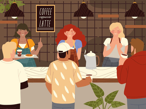 coffeehouse barista and coffee shop customers characters