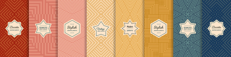 Fototapeta Vector geometric seamless patterns collection. Set of stylish pastel backgrounds with elegant minimal labels. Abstract modern textures with lines, stripes. Trendy colors. Repeated designs templates