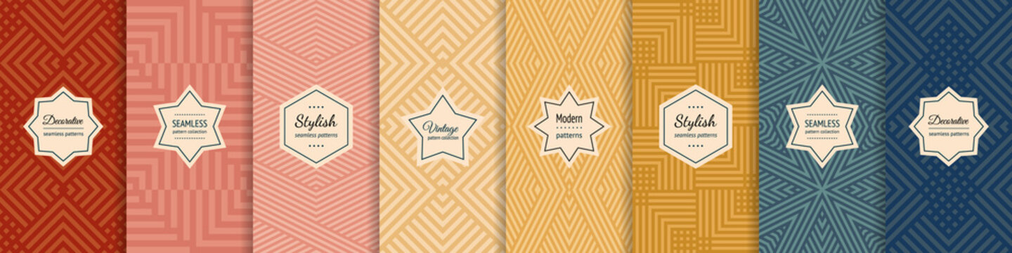Vector geometric seamless patterns collection. Set of stylish pastel backgrounds with elegant minimal labels. Abstract modern textures with lines, stripes. Trendy colors. Repeated designs templates