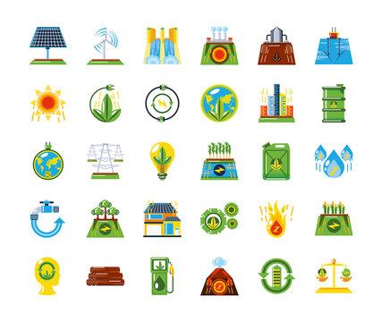 renewable energy source clean sustainable development icons