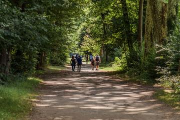 Fototapeta People walking in Castle Park of Vizille