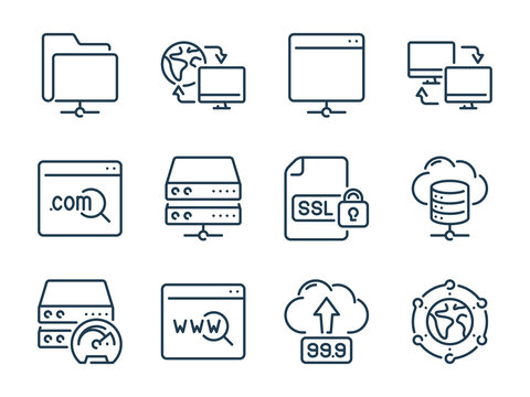 Hosting, Data server and Network storage related vector line icons. Host infrastructure and Database outline icon set.