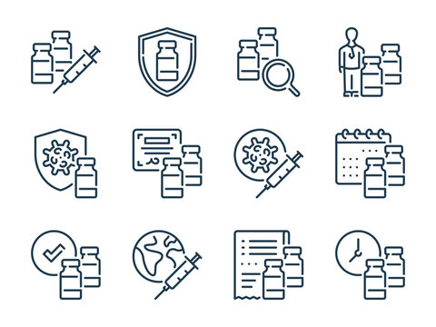 Vaccine and Vaccination related vector line icons. Vaccine dose and Anti virus injection outline icon set.