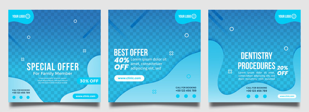Dentist social media post templates. Medical promotion square web banner. Sale and discount background.