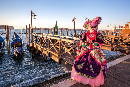 Colorful carnival mask at a traditional festival in Venice, Italy