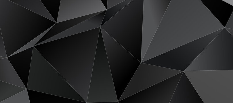 Abstract black triangle background with thin white stroke, low poly pattern illustration