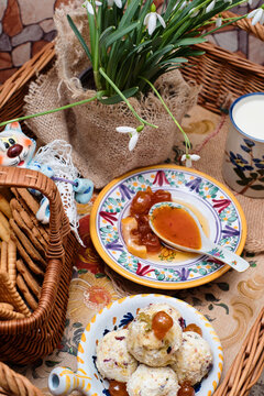 Romantic breakfast to bed - delicious fresh boursin cheese with fruits and nuts, crispy pastry, farm milk and sweet cherry jam