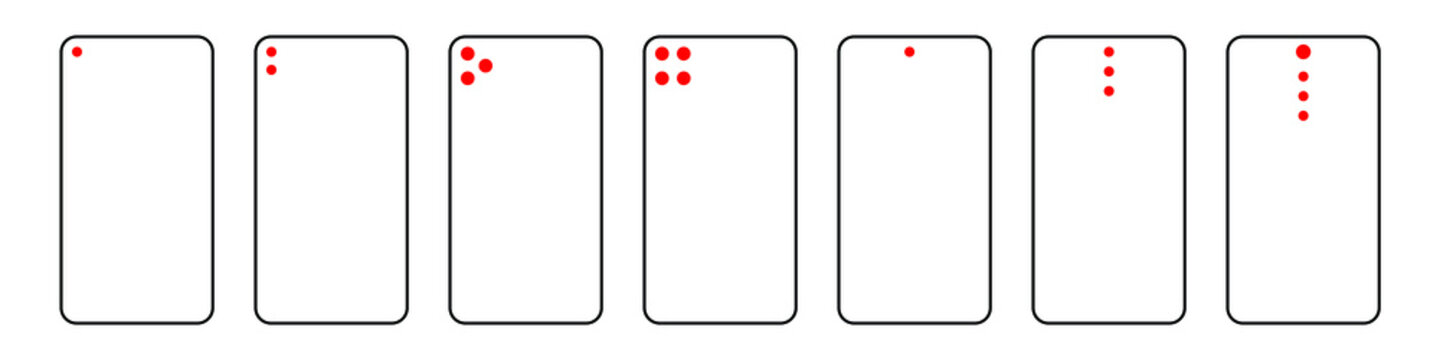 A set of one, two, three and four phone camera line vector icons. Smartphone element with digital camera module, portrait, zoom, vario and devices of different sizes.