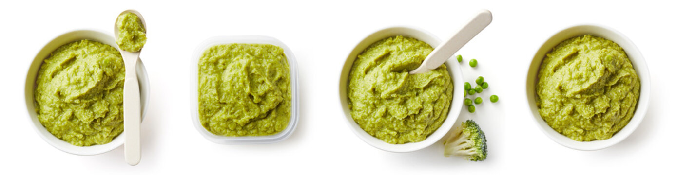 Green peas and broccoli baby puree isolated on white, from above
