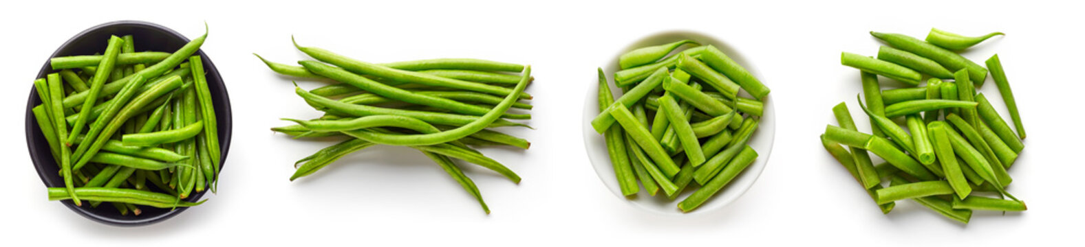 Green beans isolated on white from above