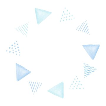 青色の優しい水彩のさんかくフレーム