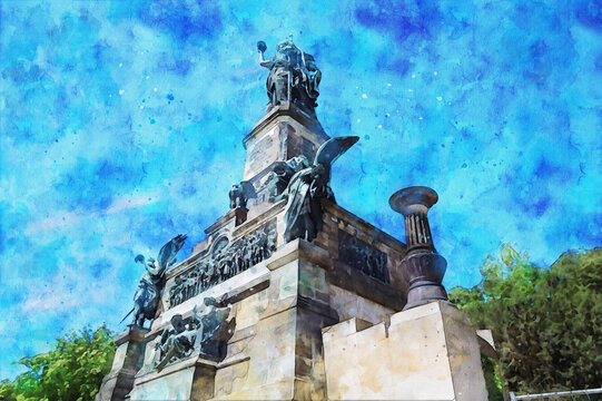 Watercolor painting of Niederwald monument and viewpoint at Rhine gorge in Germany. Near Ruedesheim.