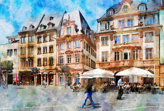 Watercolor painting of Market squard in Mainz. Germany.