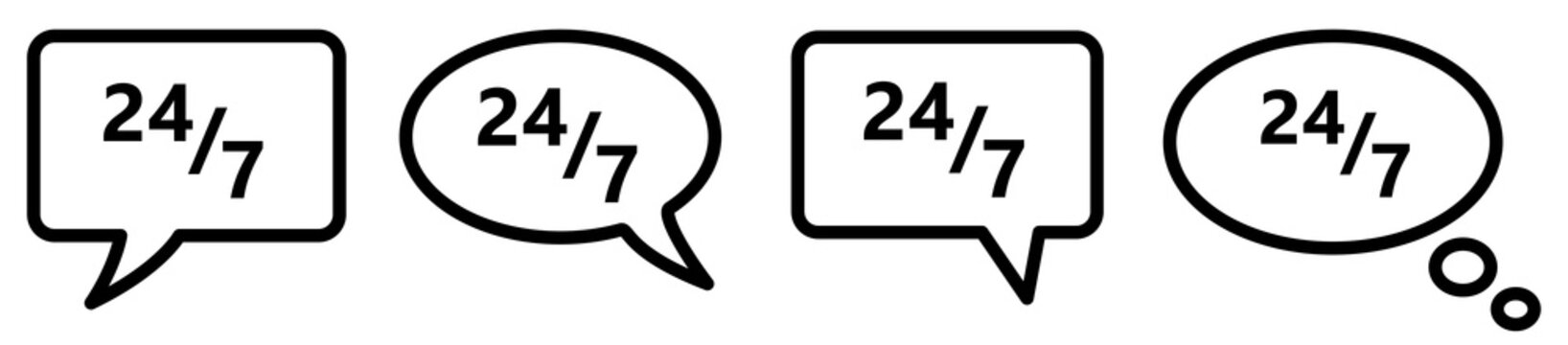24 7 icon in speech bubble, different version. Contact for nonstop support concept