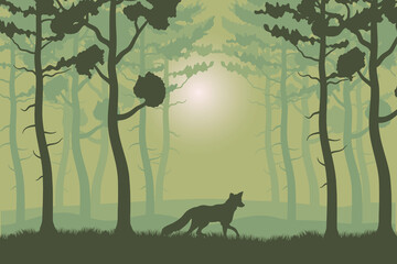 trees plants and fox in green forest landscape scene