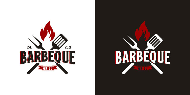 barbecue logo with bbq logotype and fire concept in combination with spatula and fork