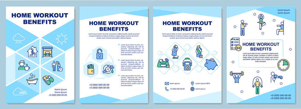 Home workout benefits brochure template. Home exercising advantages. Flyer, booklet, leaflet print, cover design with linear icons. Vector layouts for magazines, annual reports, advertising posters