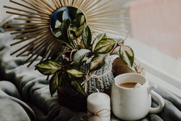 Fototapeta Miły poranek przy kawie i kwiatach  obraz