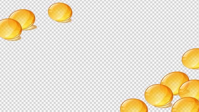 サプリメントのイラスト_黄色いソフトカプセル_フレーム_16:9
