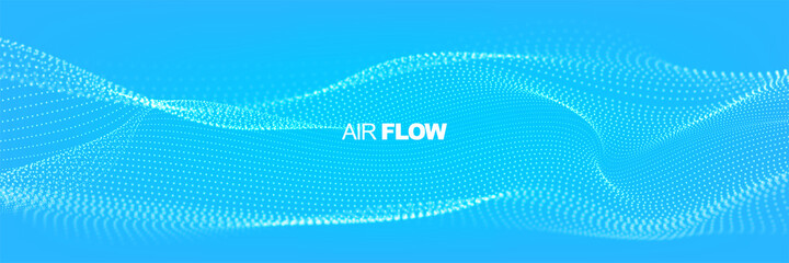 Obraz Flowing particles with depth of field. Air flow. Particle waves showing a stream of clean fresh air. Vector illustration. - fototapety do salonu