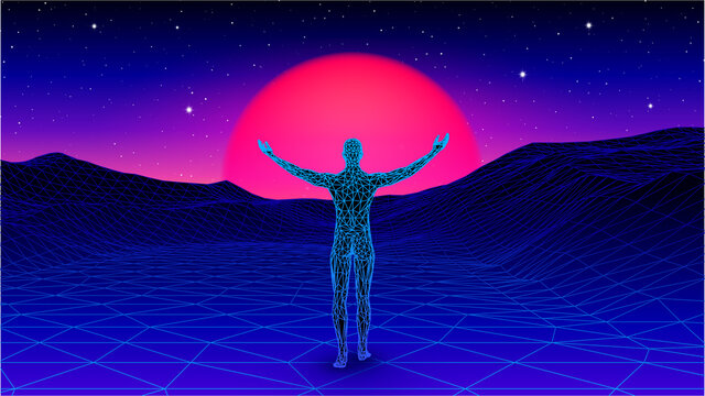 Man spreading arms and welcoming the sun in futuristic synthwave or vaporwave landscape. 80s styled retro gaming cover with human in digital world