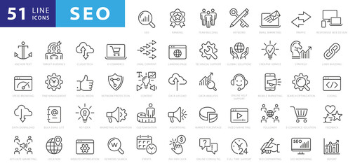 Fototapeta Outline web icons set - Search Engine Optimization. Thin line web icon collection. Simple vector illustration